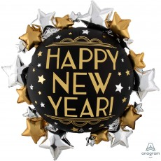 New Year SuperShape XL Satin Infused Shaped Balloon 76cm x 76cm