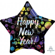 New Year Standard Holographic Iridescent Bubbles Star Foil Balloon 45cm