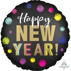 New Year Standard XL Satin Dotted Foil Balloon 45cm