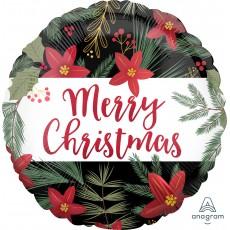 Christmas Party Decorations - Foil Balloon Standard Satin Poinsettia