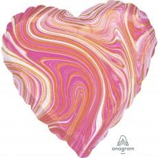Heart Pink Marblez Standard HX Shaped Balloon 45cm
