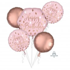 Blush Birthday Party Decorations - Foil Balloons Bouquet