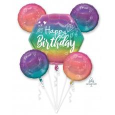 Happy Birthday Bouquet Sprkl Foil Balloons