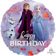 Round Disney Frozen 2 Standard HX Happy Birthday Foil Balloon 45cm