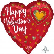 Valentine's Day Glitter Hearts Standard HX Shaped Balloon