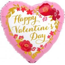 Valentine's Day Floral Wreath Standard HX Shaped Balloon