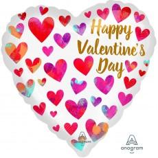Valentine's Day Painterly Hearts Standard HX Shaped Balloon