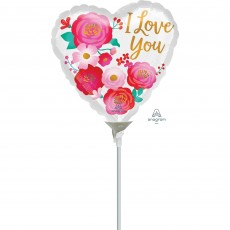 Love Party Decorations - Foil Balloon Ombre Flowers I Love You 22cm