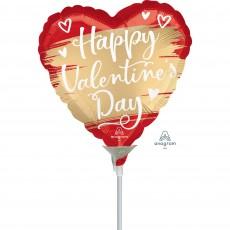 Valentine's Day Satin Gold Swoosh Shaped Balloon