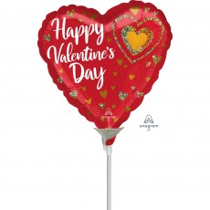 Valentine's Day Party Decorations - Shaped Balloon Glitter Hearts 22cm