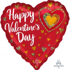 Valentine's Day Glitter Hearts Jumbo HX Shaped Balloon