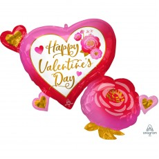 Valentine's Day Heart & Roses SuperShape XL Shaped Balloon