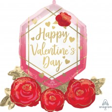 Valentine's Day SuperShape XL Gem & Roses Shaped Balloon