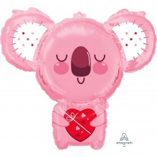 Love SuperShape XL Pink Koala Bear & Heart Shaped Balloon
