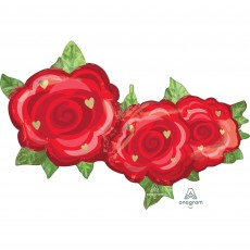 Red SuperShape Rose Trio Shaped Balloon