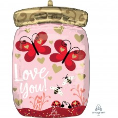 Love Bugs & Butterflies Jar Standard XL Shaped Balloon