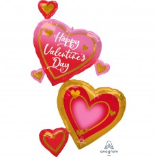 Valentine's Day Pink, Gold & Red Giant Multi-Balloon Shaped Balloon