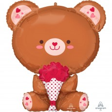 Valentine's Day Multi-Balloon XL Teddy Garland & Flowers Shaped Balloon