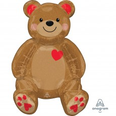Love CI: Multi-Balloon Sitting Teddy &  Hearts Shaped Balloon