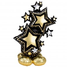 Black & Gold New Year CI: AirLoonz Star Cluster Shaped Balloon 86cm x 149cm