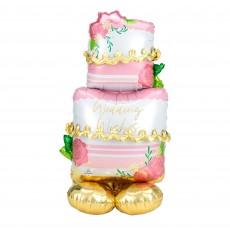 CI: AirLoonz Cake Wedding Wishes Shaped Balloon 71cm x 132cm