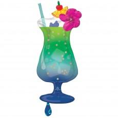 Hawaiian Luau Party Decorations - Shaped Balloon Tropical Blue Hawaiian Drink SuperShape XL