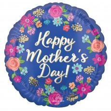 Mother's Day Party Decorations - Round Foil Balloon Circled in Flowers