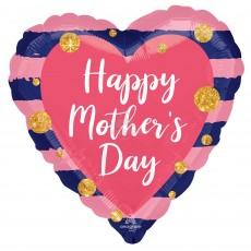 Mother's Day Standard HX Navy & Pink Shaped Balloon