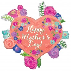Mother's Day SuperShape Floral Heart Shaped Balloon