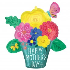 Mother's Day SuperShape XL Pretty Flower Pot Shaped Balloon