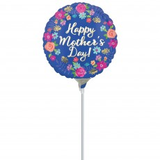 Mother's Day Party Decorations - Foil Balloon Circled in Flowers 22cm
