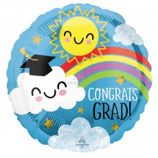 Graduation Standard HX Rainbow Foil Balloon