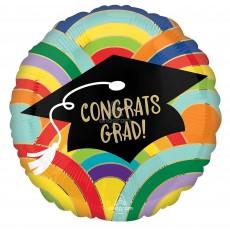 Graduation Standard HX Rainbows All Around Foil Balloon