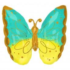 Yellow SuperShape XL Mint &  Butterfly Shaped Balloon