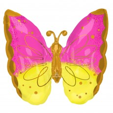 Pink SuperShape XL  & Yellow Butterfly Shaped Balloon
