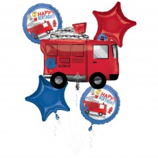 First Responders Party Decorations - Foil Balloons Bouquet Fire Truck