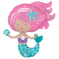 Mermaid Shine Party Decorations - Shaped Balloon Shimmering Mermaid SuperShape