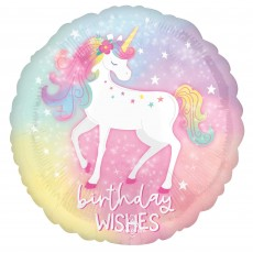 Magical Unicorn Party Decorations - Foil Balloon Enchanted Unicorn Standard HX Birthday Wishes