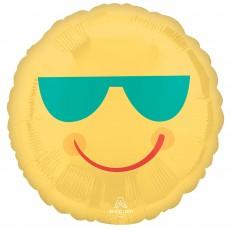 Hawaiian Luau Yellow Smiley Face & Sunglasses Standard HX Foil Balloon