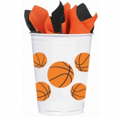 Basketball Fan Plastic Cups 414ml Pack of 8