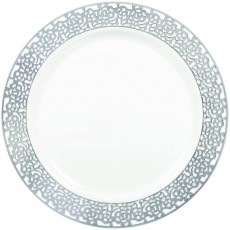 Round White with Silver Lace Border Lunch Plates 19cm Pack of 20
