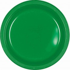 Festive Green Plastic Lunch Plates 17cm Pack of 20