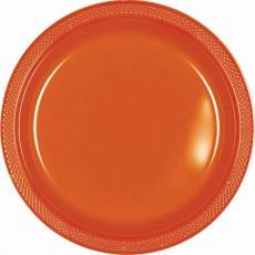 Round Orange Plastic Lunch Plates 17cm Pack of 20