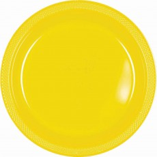 Round Sunshine Yellow Plastic Lunch Plates 17cm Pack of 20