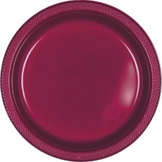 Round Berry Red Plastic Lunch Plates 17.7cm Pack of 20