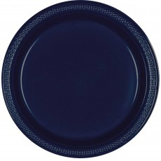 Navy Blue Plastic Lunch Plates 17cm Pack of 20