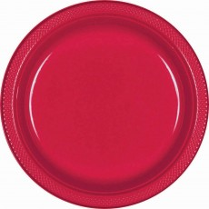 Red Apple Plastic Lunch Plates