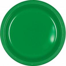 Festive Green Plastic Dinner Plates 22.9cm Pack of 20