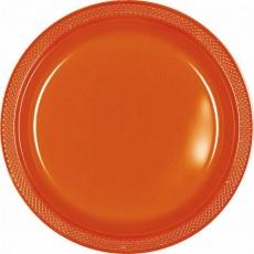 Round Orange Plastic Dinner Plates 22.9cm Pack of 20