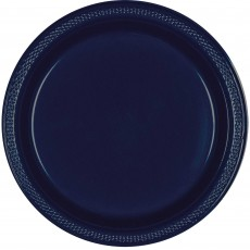 Navy Blue Plastic Dinner Plates 22.9cm Pack of 20